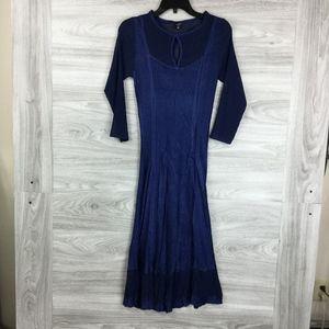 KOMAROV Navy 3/4 Sleeve Keyhole Dress